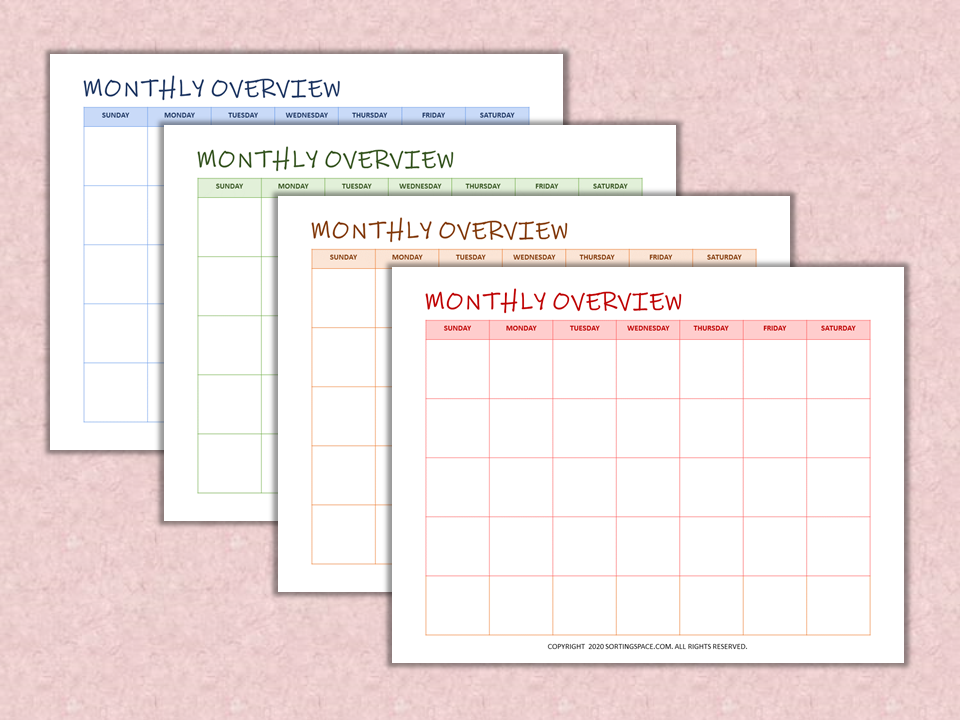 Monthly Overview free printables